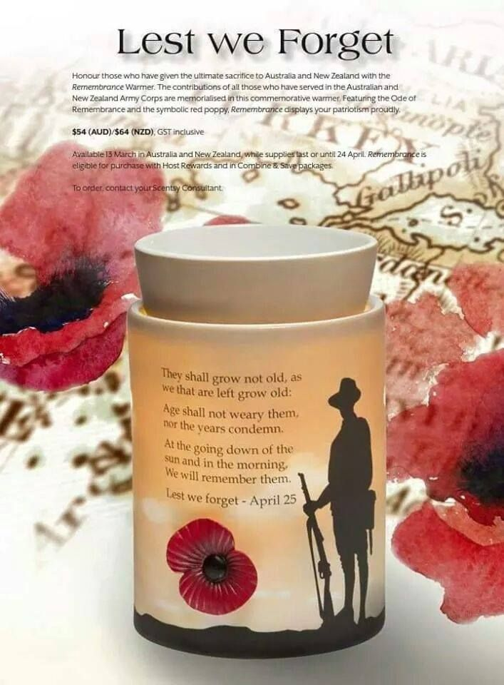 #Scentsy #gorgeous scents #Glorious Scents   #memories #rememberance  #Anzac #limited edition