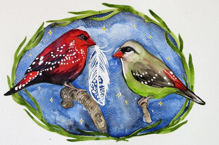 Bird print, bird illustration, feather print, birds watercolour, finch print, holiday print by SavannaLife on Etsy