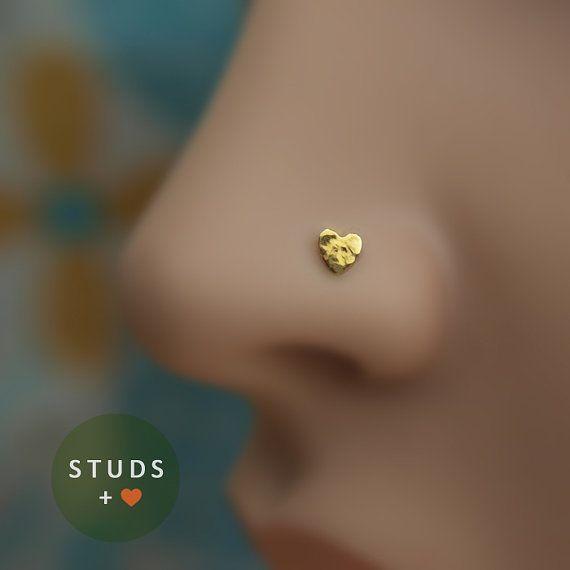 little heart nose stud