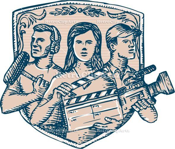 Film Crew Clapperboard Cameraman Soundman Etching Vector Stock Illustration