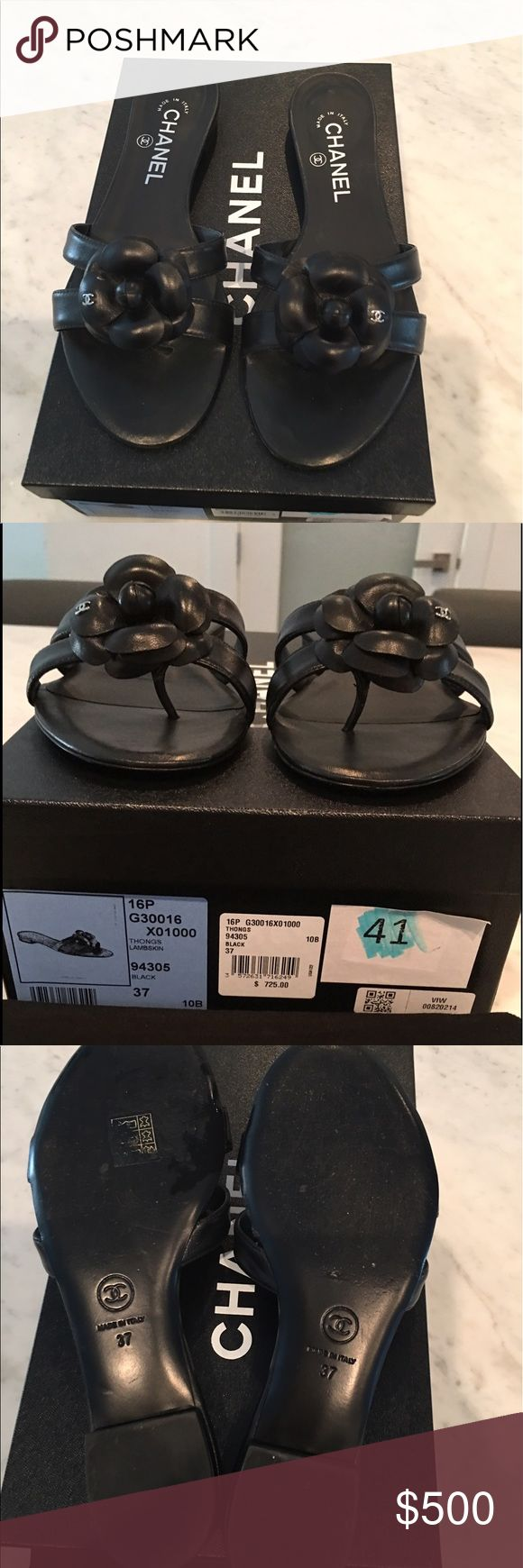 Chanel sandals Chanel Sandals  Size: 37  Color: Black  Condition: Excellent, wore once  Original Price: $725 Asking price: $500 CHANEL Shoes Sandals