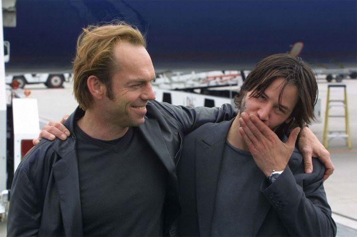 "Photo of Keanu Reeves & his friend actor  Hugo Weaving - Movie ""The Matrix"""