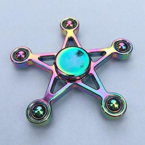 Rainbow Sheriff Star Fidget Spinner Metal EDC Hand Toy. BUY NOW: https://www.fromouttathisworld.com/products/rainbow-sheriff-star-fidget-spinner-metal-edc-hand-toy