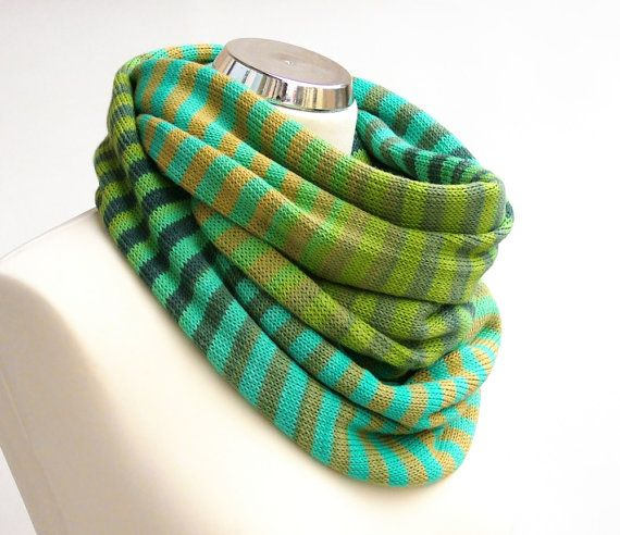Knit infinity scarf - Cotton knit scarf Knit cotton infinity scarf Spring scarf Womens cotton scarf Green scarf Striped Turquoise scarf