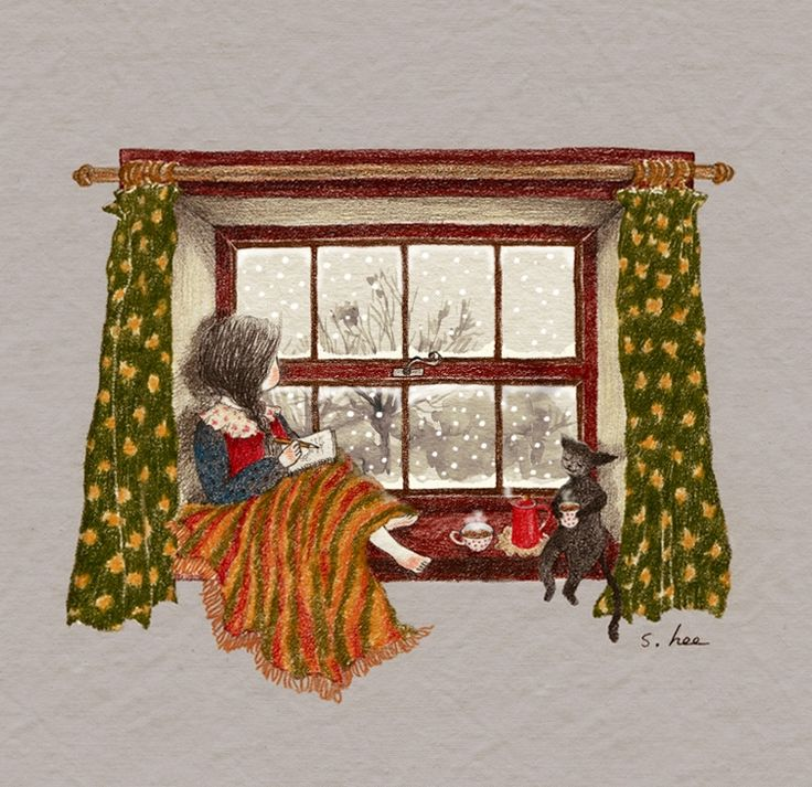 """초록담쟁이 (Green Ivy), """"눈 오는 창가"""" (""""Snowy Window"""")"""