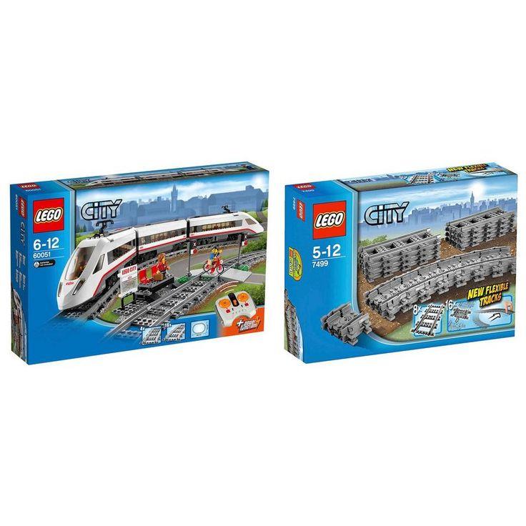 LEGO City hogesnelheids trein 60051 + flexibele rails 7499