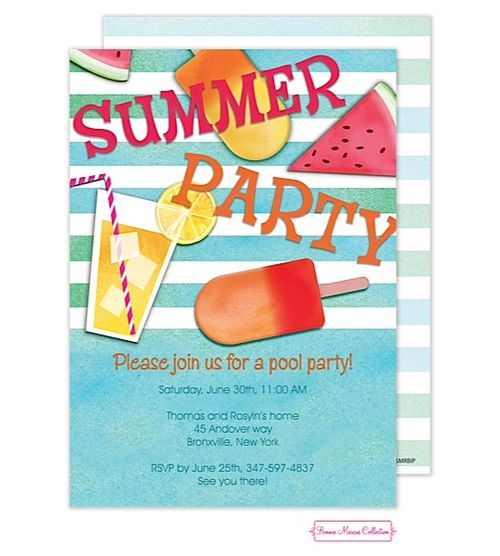 110 best summer and pool party invitations images on pinterest, Party invitations