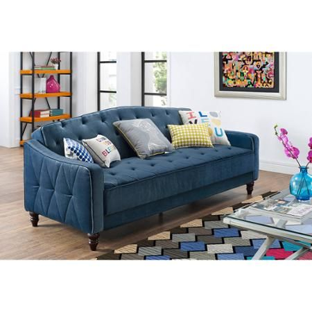 A navy velour sleeper sofa for $350? Reviews say it's not that comfy but it sure is pretty. - Walmart.com