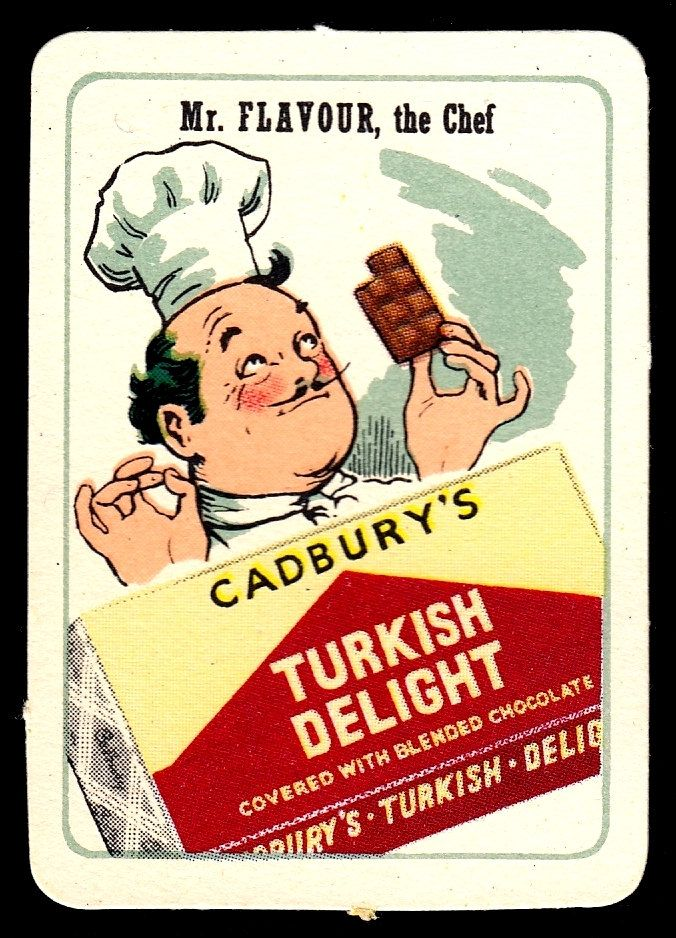 "https://flic.kr/p/FwCDwR | British Tradecard - Cadbury's Turkish Delight | Cadbury's Chocolate ""Happy Families"" advertisement cards, issued in 1950 Mr Flavour, Cadbury's Turkish Delight"