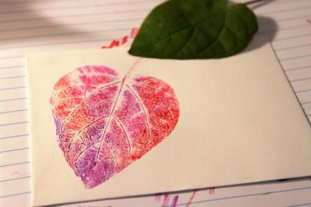 leaf print with markers