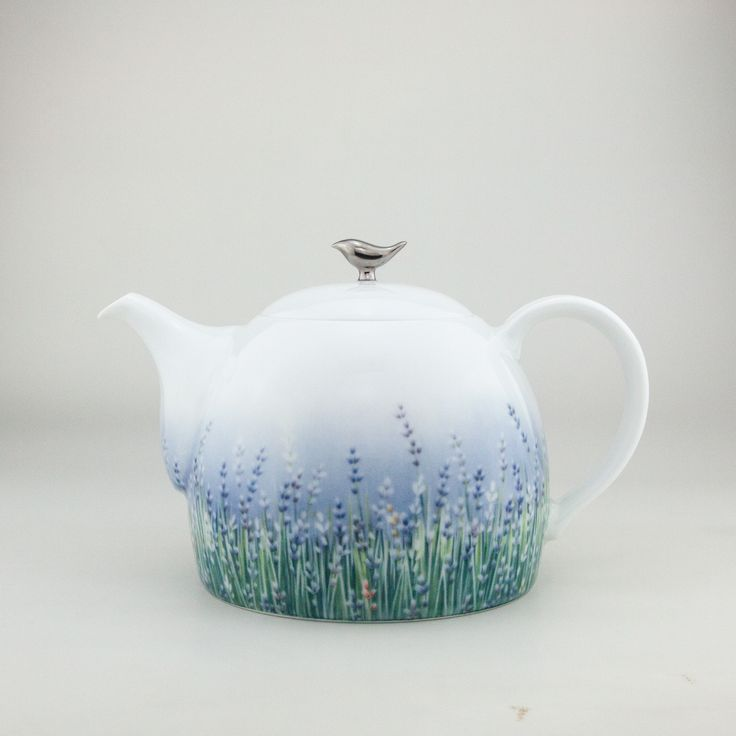 Lalala Lavande,  Tea-pot hand-thrown from the purest white Jingdezhen porcelain then hand-painted by our team of dedicated artists and finally gilded in the purest platinum  Tea-ware coffee-ware by Spherebol tea-pot handthrown handpainted