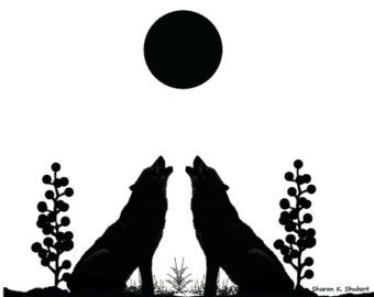 Black Wolf Art, Southwestern Wall Hanging, Native American Totem Animal, Wolves Decor, Mirror Imaging, Home Decor, Giclee Print, 8 x 10