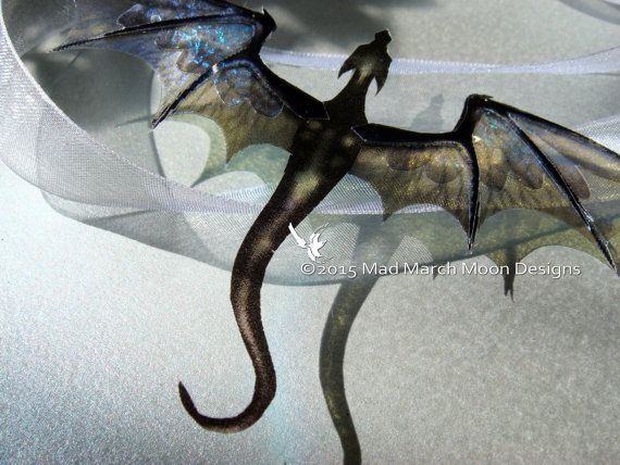 Dragon Necklace, Handmade, Black Ruin, iridescent with white organza tied ribbon or silver plated chain.