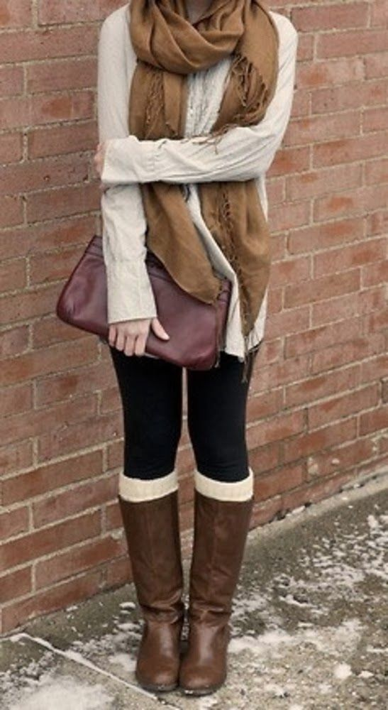 Fall Outfit With Long Boots and Brown Scarf