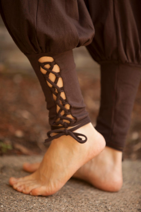 these lace-up harem pants, I'm drawn to them.