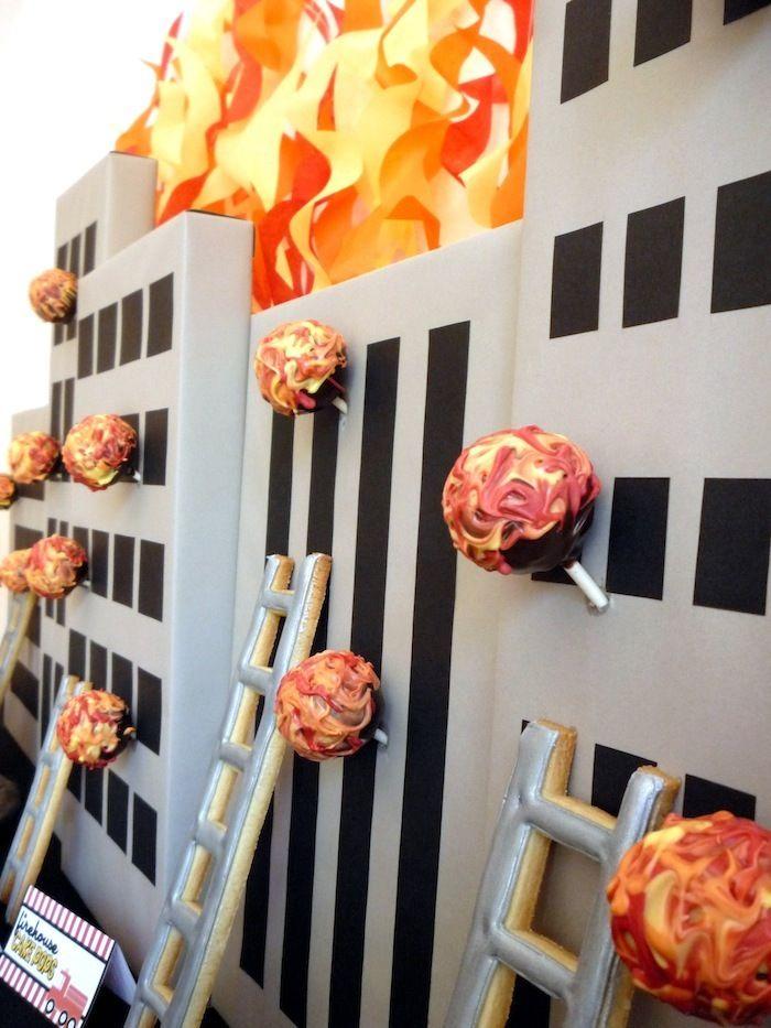 cake pop display Five Alarm Guest Dessert Feature {& Tissue Fire Backdrop Tutorial}