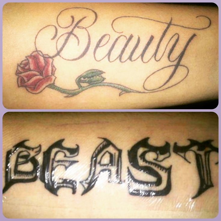 52 Powerful Quote Tattoos Everyone Should Read: Our Beauty And The Beast Tattoos We Just Got :)