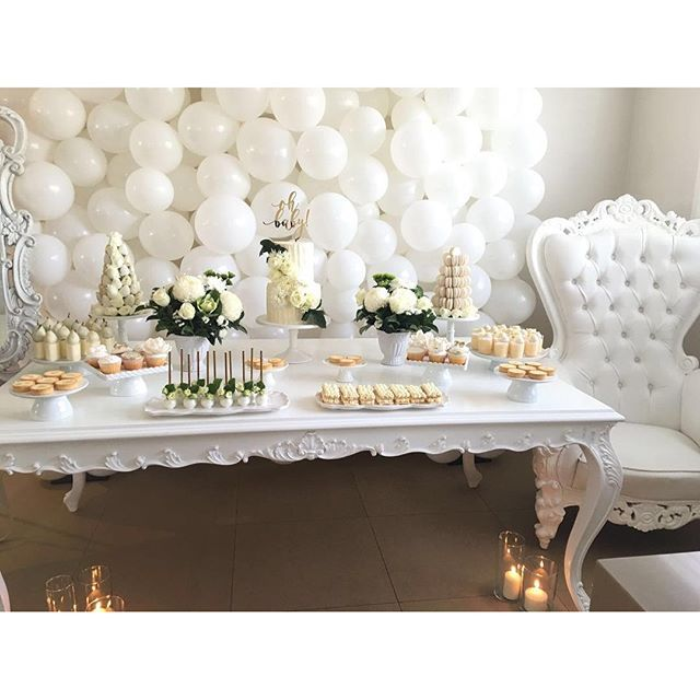 elegant_tea_time: All white baby shower Our new Chelsea White Table making its debut. Desserts & styling @dessertsbyjoey Props by @elegant_tea_time Balloon wall by @partysplendour Cake by @delightful_cake_house Cake topper by @communicakeit Flowers by @flowersbymona Towers by @strawberriesandco_ Macarons by @arelio_sweetbox Cakepops by @yummiliciouscakepops Mirror Decal by @createdbyamen #babyshower #allwhite #mumtobe #desserttable #desserts #cake #caketable #sydneyevents #sydneyeventhire…