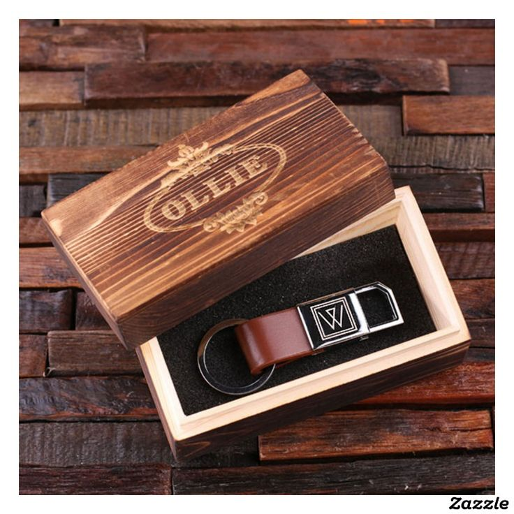 Personalized Brown Leather Keychain w/Wood Box