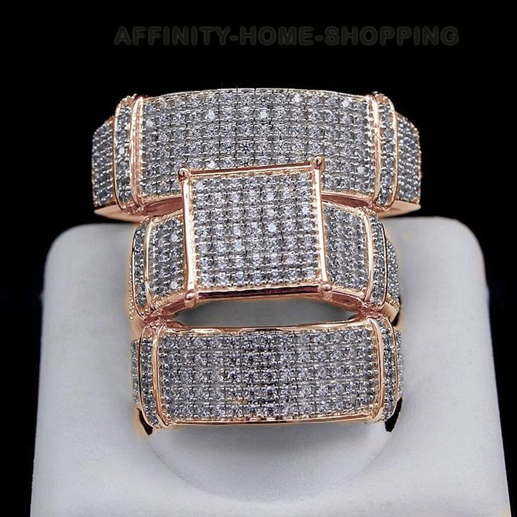 1.30 Ct D/VVS1 Trio Set Wedding Band Matching Engagement Ring 10K Rose Gold #AffinityHomeShopping #BrideGroomSet #EngagementWeddingAnniversaryPromiseValentine
