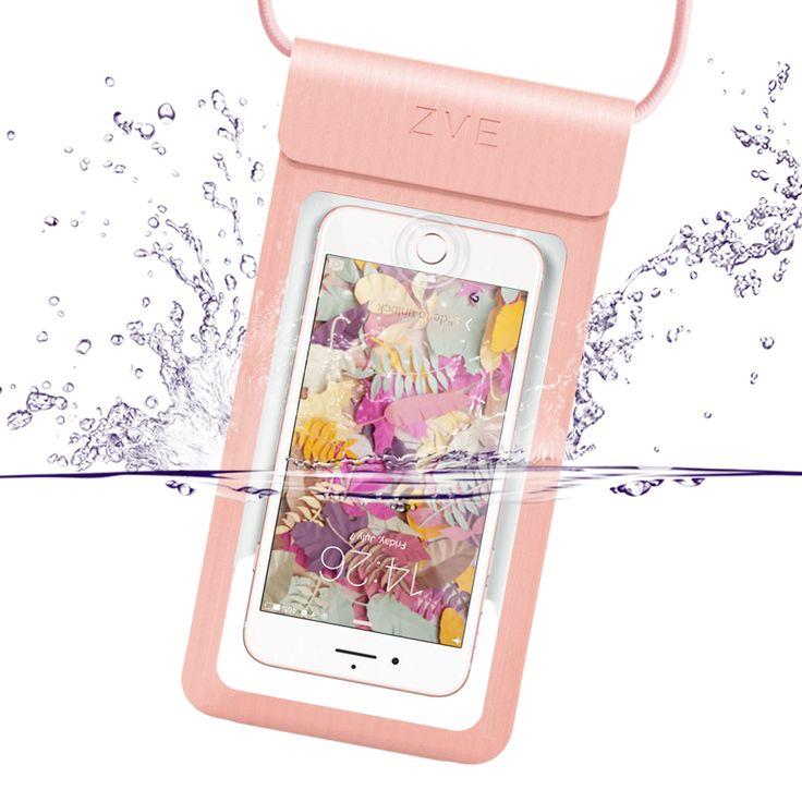 完全防水ケース IPX8規格 指紋認証対応 スマホ 防水ポーチ iPhone SE/5/5s/6/6s /Plus/7/7 plus Sony/Samsung/Huawei/LGなど6インチ以下全機種対応 高感度タッチスクリーン ネックストラップ付(rose gold)