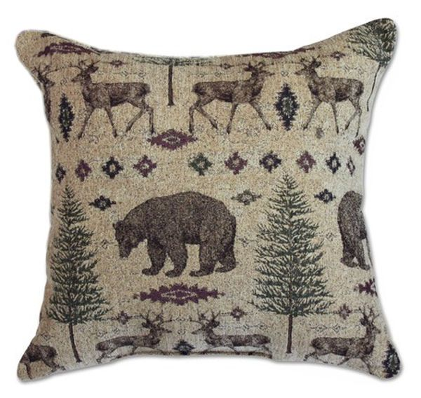 """20 x 20 Rustic Accent Pillow Sham. This bear, deer and forest theme tapestry fabric is perfect for upholstery, draperies, pillows and bedding. sold by the yard (54""""w x 36"""" long) in continuous lengths up to 15 yards. 