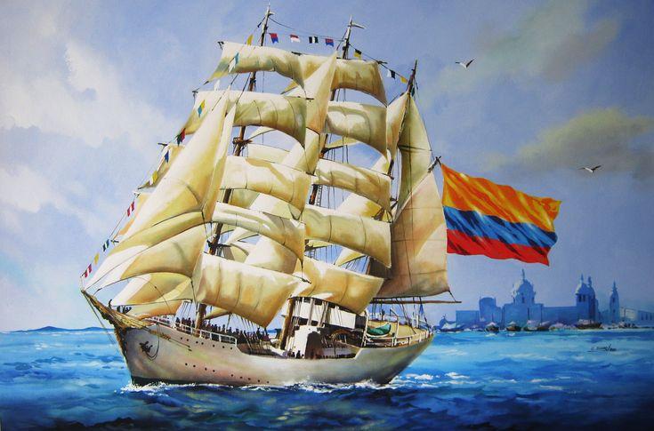 preciosa obra de arte de arte con el Gloria como tema, al fondo la ciudad  de Cartagena en  el  mar Caribe Colombiano.
