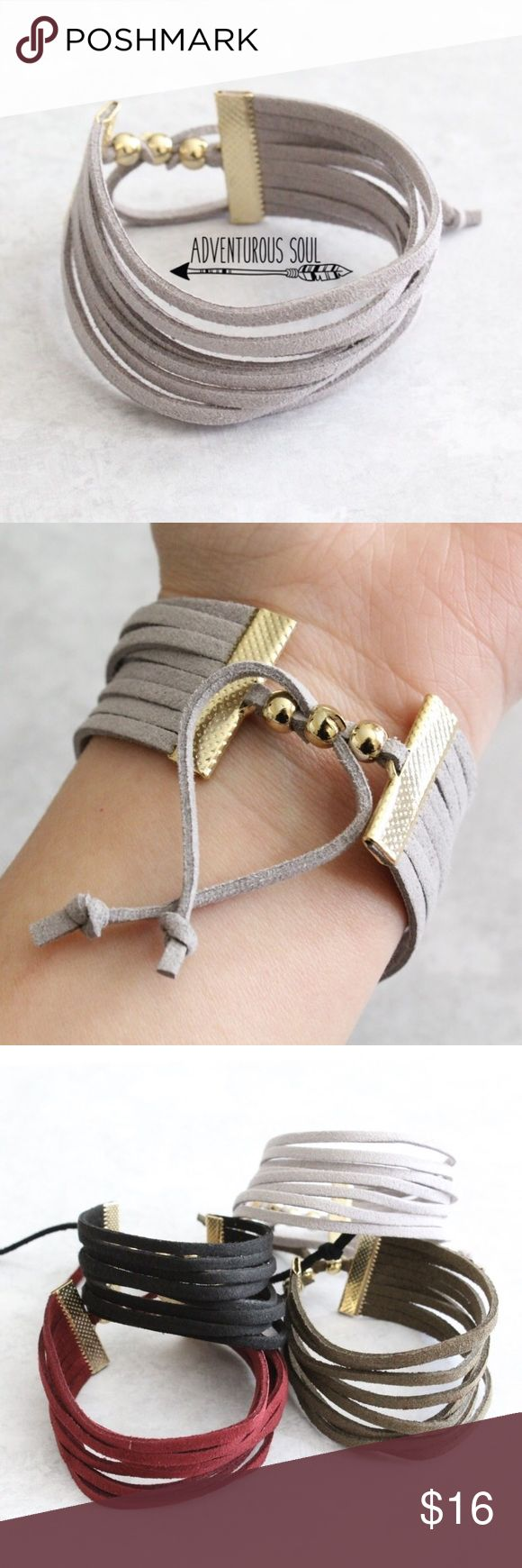 Gray Faux Suede Adjustable Multilayered Bracelet SUPER CUTE & TRENDY FAUX SUEDE BRACELET. ADJUSTABLE. GRAY. AS30012 Jewelry Bracelets