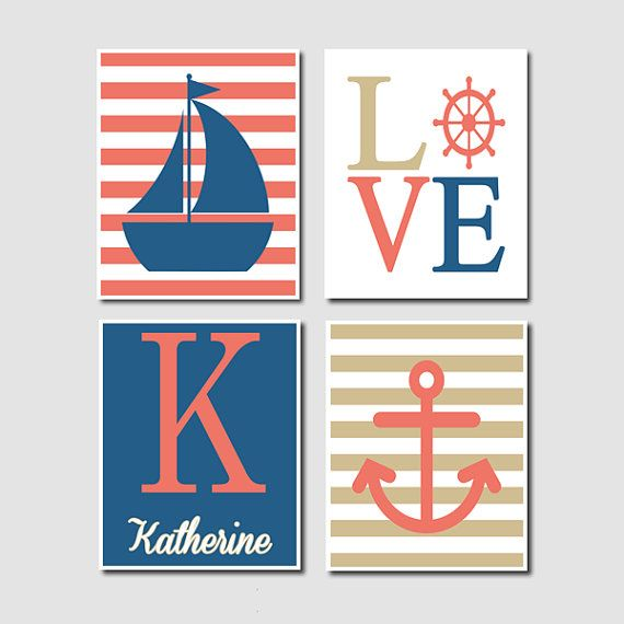 Pink Navy Nautical Nursery Wall Art Sailboat by LovelyFaceDesigns