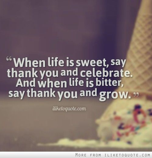 When Life Is Sweet, Say Thank You And Celebrate. And When