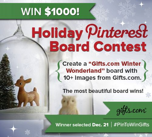 Gifts.com Winter Wonderland Pinterest Board Contest...win a thousand dollar shopping spree! learn more... http://blog.gifts.com/giveaways/holiday-pin-to-win-contest-kicks-off-today#