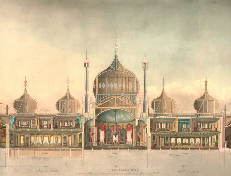 The Royal Pavilion: detail of the cross-section from Nash's Views