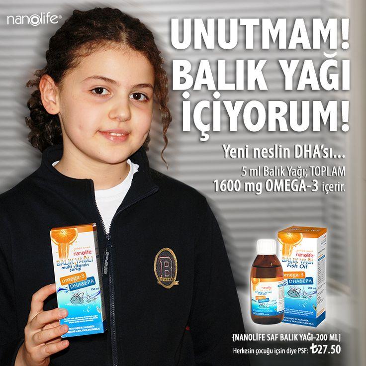 UNUTMAM! BALIK YAĞI İÇİYORUM! Yeni neslin DHA'sı... 5 ml Balık Yağı; TOPLAM 1600 mg OMEGA-3 içerir.