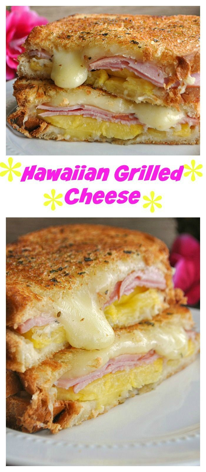 A tropical vacation for your tastebuds! Hawaiian Grilled Cheese = A grilled cheese take on the popular Hawaiian style pizza!