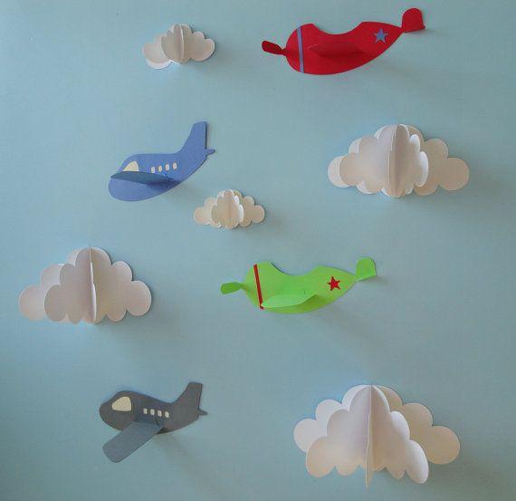 Airplane Wall Decals, Plane Wall Decals, Planes and Clouds, 3D Paper Wall Art, Wall Decor