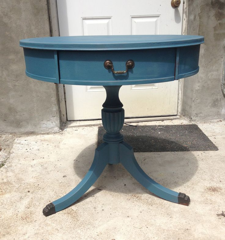 Classic 1940s Solid Wood Drum Table Showcases A Beautiful