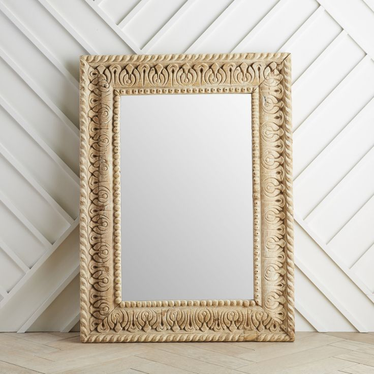 Vintage Indian Hand-Carved Mirror | Wisteria | Vintage ...