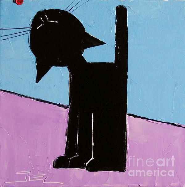Black Cat With Ladybug Painting by Atelier De Jiel - Black Cat With Ladybug Fine Art Prints and Posters for Sale
