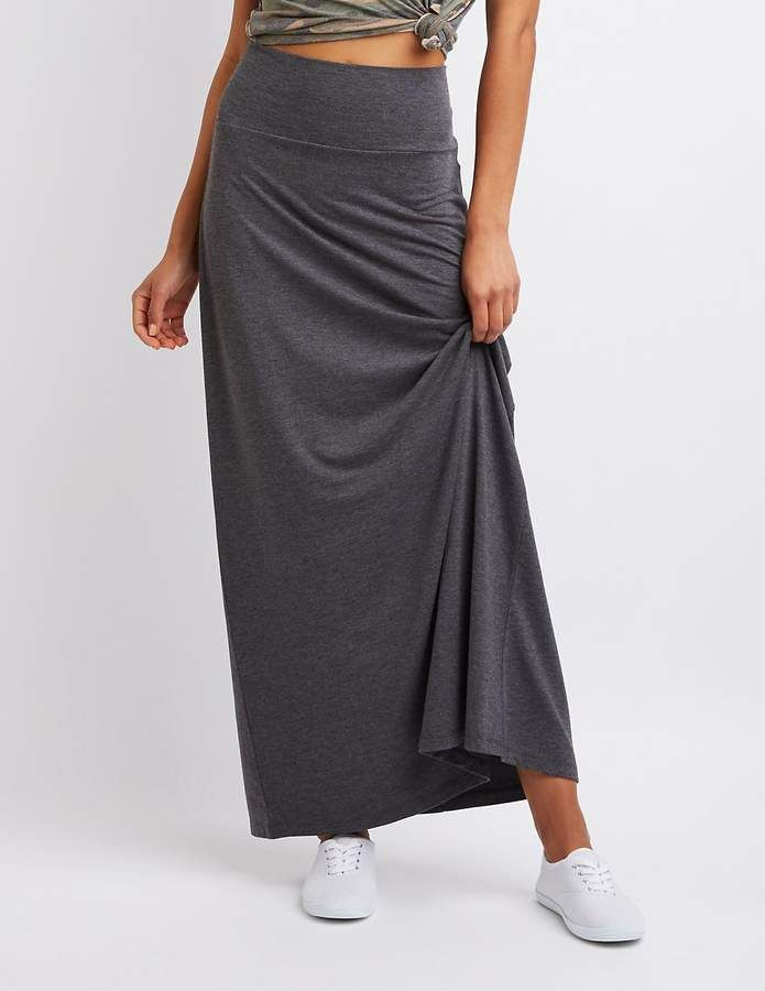 d2b4339b6b This would be a great addition to a capsule wardrobe. Charlotte Russe  Jersey Knit Maxi Skirt charcoal dark gray  skirt  maxiskirt  knit ...