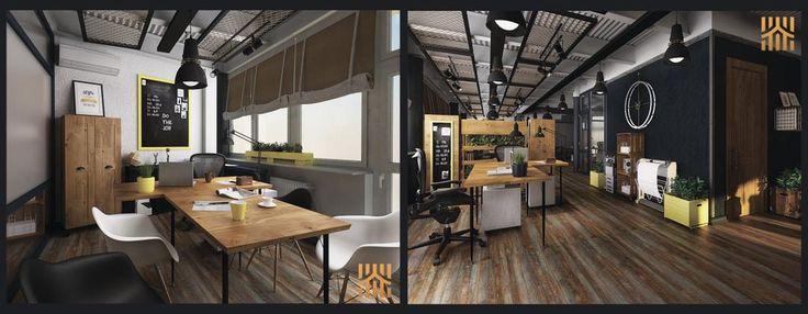 Кабинет и рабочая зона офиса в стиле Лофт от дизайн-студии Art Estate.