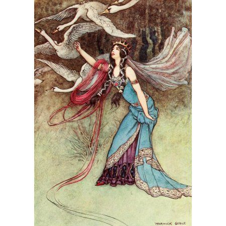 The Fairy Book 1913 The queen threw her shirt over them Canvas Art - Warwick Goble (18 x 24)