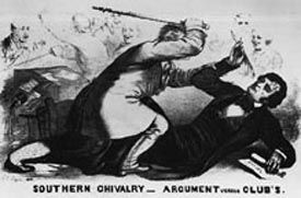 Cartoon depiction of the caning of Charles Sumner of Massachusetts
