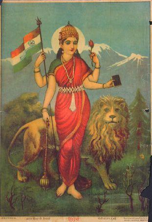 Mother India, Raja Ravi Varma, 19th c. Oleolithograph.