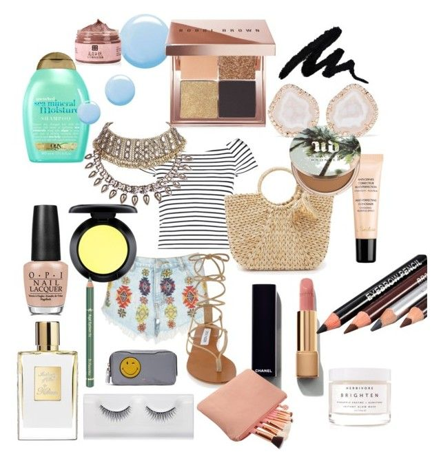 """""""beach days"""" by harrietbuick ❤ liked on Polyvore featuring Lipsy, Steve Madden, Hat Attack, Kimberly McDonald, Chanel, Herbivore, OPI, MAC Cosmetics, Organix and Guerlain"""