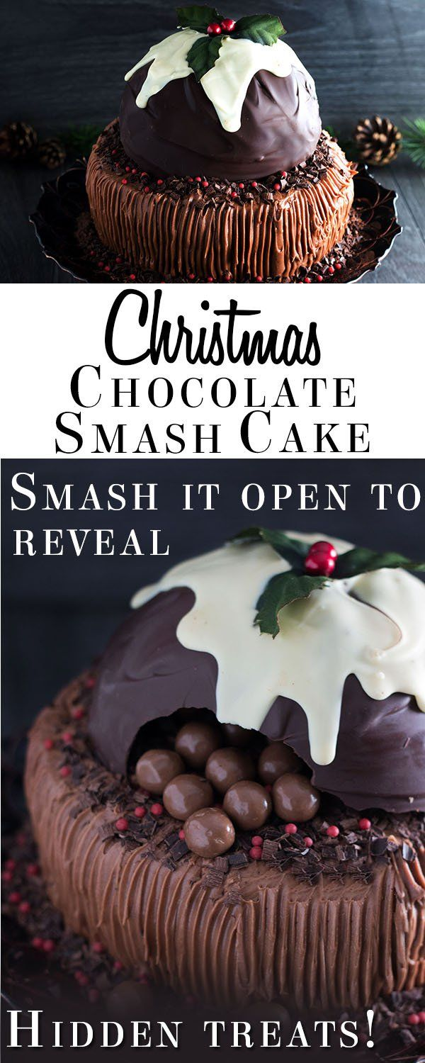 This recipe for Chocolate Christmas Smash Cake brings dessert to a whole new level! It's a fun family centerpiece that kids will just love! Smash it open to reveal hidden treats - it will be the biggest hit of your festive entertaining!