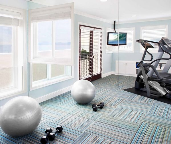 Home Gym Flooring Ideas Carpet Tiles Mirror Wall Blue Wall Color