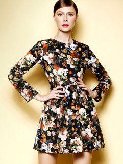 2014 Autumn Western Style Dress Color Block Floral Pattern Ruffles Long Sleeve Short Dress S-XL