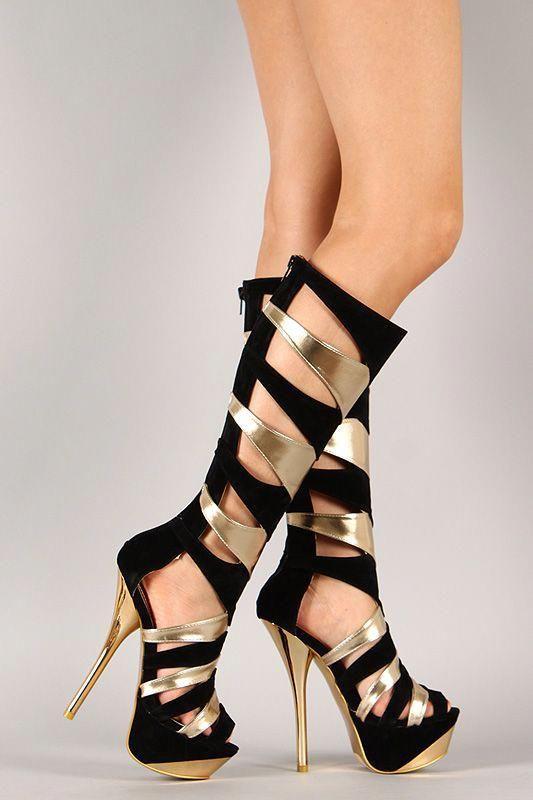 Parthenia-10 Two Tone Gladiator <b>Knee High</b> Stiletto Platform Heel ...
