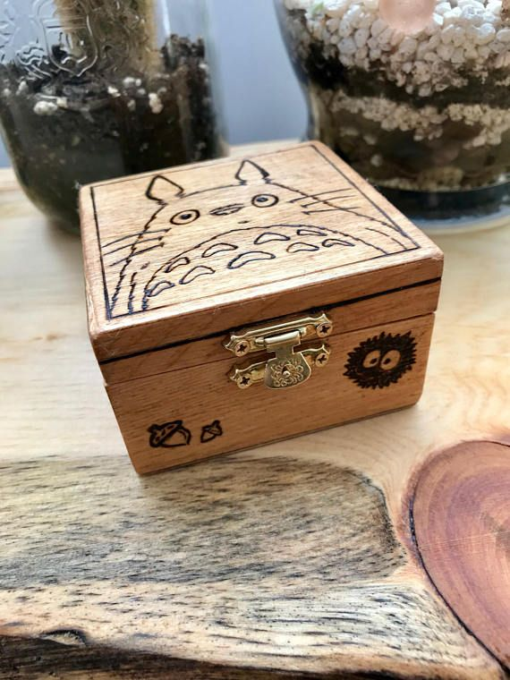 My Neighbour Totoro trinket or jewellery box wood burned box