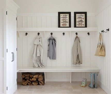 simplest mudroom.. Love bench, hooks  shelf. Note how unobtrusive the bench supports are.